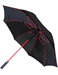 COLLAR AND CUFFS LONDON - 60MPH Windproof Extra Strong - StormFighter Jumbo Umbrella - Red Reinforced Fiberglass Frame - for 1 or 2 Persons - Auto Open - Non Slip Handle - Black, One Size