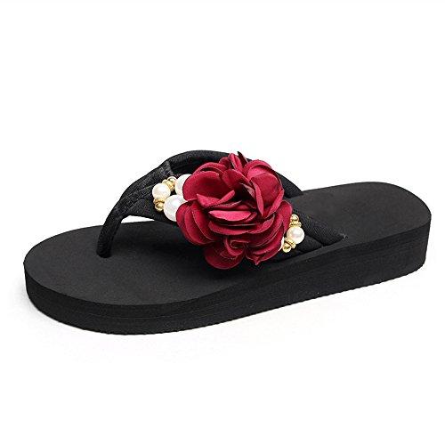 ZHIRONG Chaussures de plage de sandales à fond plat Chaussures compensées à fond épais antidérapantes