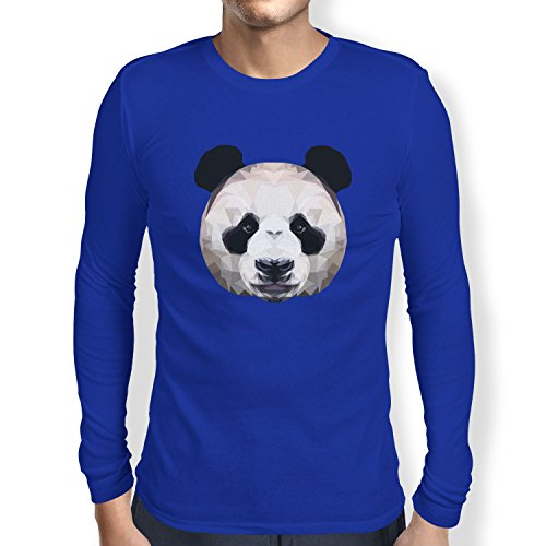 TEXLAB - Polygon Panda - Herren Langarm T-Shirt Marine