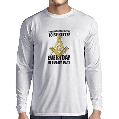 T-Shirt mit langen Ärmeln Um jeden Tag besser zu sein Masonic G Mason Freimaurer Winkel und Zirkel (X-Large Weiß (Grad Kostüme Freimaurer)