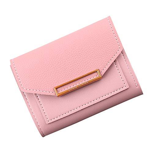 Null Brieftasche Frauen Kurze Farbe Nähte Einfache 3-Fach Student Tag Kleine Frische Multifunktionale Damentasche Dunkles Pulver - Dunkle Braune Farbe Finish