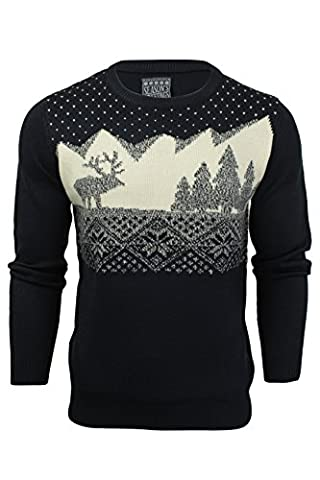 Mens Christmas/ Xmas Jumper 'Wood Cabin' Long Sleeved (Eclipse Blue) L