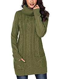 Asvivid Women Turtleneck Cable Knit Sweater Dress Long Sleeve Slim Pullover Top Size UK6-20