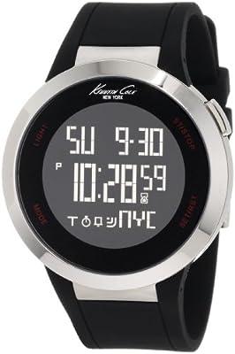 Kenneth Cole KC1639 - Reloj de caballero de cuarzo, correa de silicona color negro (con alarma, cronómetro) de Kenneth Cole