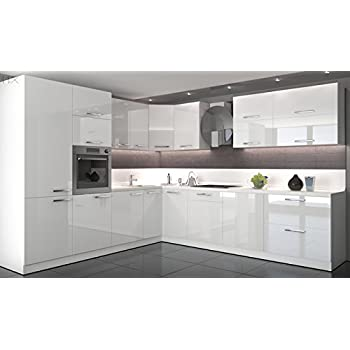Küche L Form Hochglanz 280 cm x 300 cm ohne E-Geräten.: Amazon.de ...