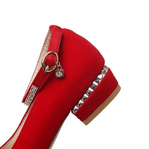 AllhqFashion Femme Pu Cuir à Talon Bas Rond Couleur Unie Boucle Chaussures Légeres Rouge