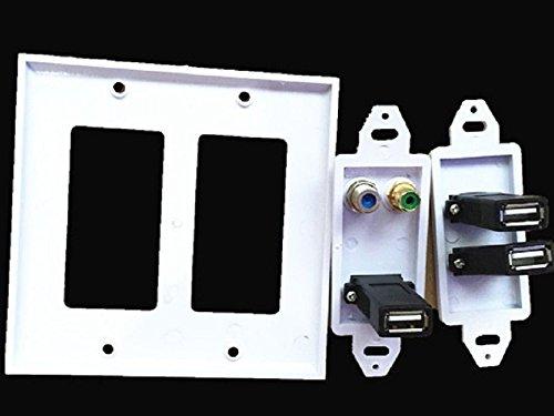 1F 3* USB 2.0+ Cinch Phono Buchse TV Satellite Frontplatte, Wall Face Plate -