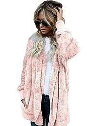 2292478c9e1b Flabor Damen Mantel Plüsch Winter Warm Plüschjacke Winterjacke Strickjacke  Outwear Cardigan Langarm Teddy-Fleece Coat