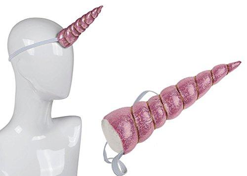 Diadema de cuerno de unicornio reluciente felpa en rosa claro y dorado