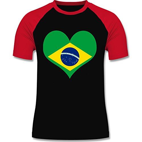 Länder - Brasilien Herz - zweifarbiges Baseballshirt für Männer Schwarz/Rot