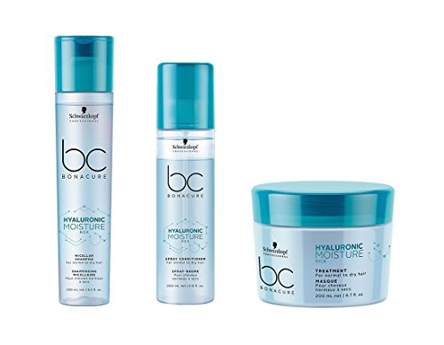 Schwarzkopf Bonacure Hyaluronic Moisture Kick Micellar Shampoo 250ml, Spray Conditioner 200ml & Treatment 200ml