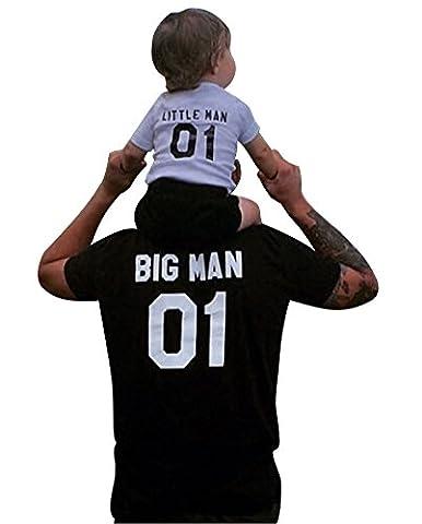 Minetom Papa und Sohn Familie Sommer T-shirt Rundhals Digitaldruck Kurzarm