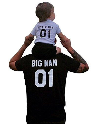 Minetom Baby Vader & Daddy Vader - Passende Vater Baby Geschenkset - Herren T-Shirt & Baby Strampler / Baby Body Schwarz 90(BOY) (Langarm Bio-baumwolle Tee)