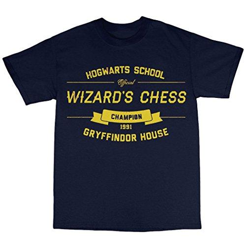 Wizard's Chess T-Shirt 100% Baumwolle Marineblau