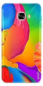 Qrioh Samsung C7 Pro Case, Samsung C7 Pro Cover [Protective + Scratch Resistant], Samsung C7 Pro Back Cover Case - Flower Painting Case