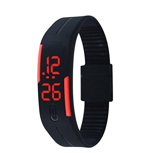 Bracciale digitale sportivo, unisex da bambino in gomma, completo di orologio da polso con luci a LED, Bambino, Black-red