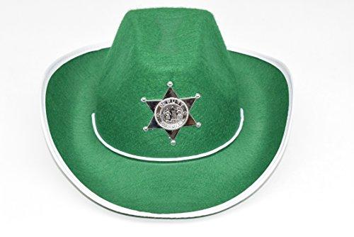 kaiser24 Cowboyhut Karneval Kinder Revolverheld Hut (Grün/Weiß)