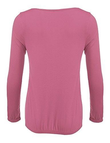 Meaneor Damen Langarm V Ausschnitt Oversize Lose Bluse Shirt Oberteil mit Gummizug Am Saum Purpurrot
