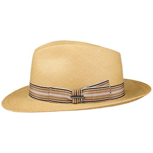 Stetson Chapeau Panama Duran Fedora Homme | Made in Italy d'été en Paille de Soleil avec Ruban Gros Grain, Grain Printemps-ete
