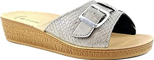Inblu ciabatte pantofole aperte donna mod. di-65 fibbia platino linea benessere (38 eu)