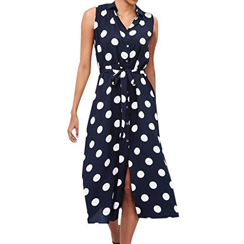 "Dicomi Kleider Mode Damen Boho Kleid Polka Dot Prints V-Ausschnitt Taille Lace Up Ã""rmelloses"