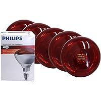 5 Stück Hartglas Infrarotbirne Philips 150 Watt rot E 27 Glühbirne Leuchtmittel für Rotlicht Wärmelampe Wärmestrahler Infrarotlampe Infrarotstrahler