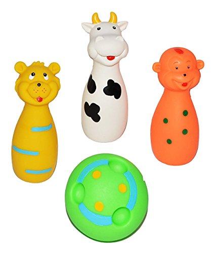 Unbekannt 4 tlg. Set Quietscher als Kegelspiel mit Ball + lustigen Gesicht - für Baby ab 0 Monate - Quietschtier / Figur Quietschfigur Kegel Bowling Badefiguren / Badet..