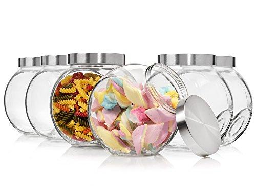 Bormioli Vorratsglas Set 6 teilig | 17x12,5x18 cm | Dank dieser Bonboniere bewahren Sie die leckersten Süßigkeiten luftdicht und sicher auf