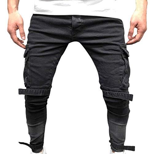 Tomatoa Männer Slim Fit Schwarz Stretch Jeanshose Jeans-Hose Denim...