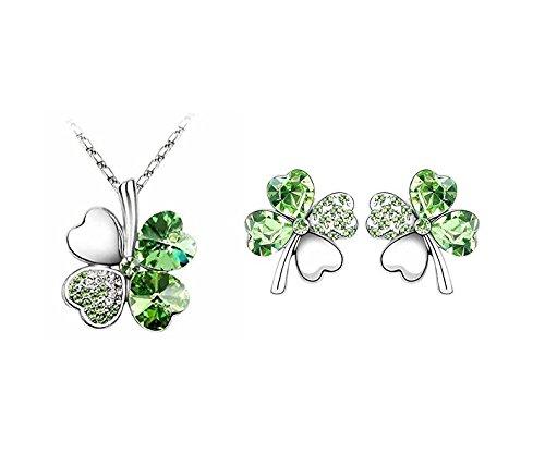 kotiger 1Set Kristall Four Leaf Clover Ohrstecker und Anhänger Halsketten für Frauen Mädchen (grün)