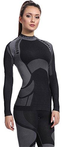 Ladeheid Damen Funktionsunterwäsche Langarm Shirt Thermoaktiv Schwarz/Grau