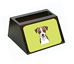 Carolines Treasures Checkerboard Lime Green Wire Jack Russell Terrier Business Card Holder, Large, Multicolor