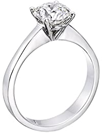 Zertifikat Klassischer 18 Karat (750) Weißgold Damen - Diamant Ring Round 0.50 Karat D-SI1 (Ringgröße 48-63)