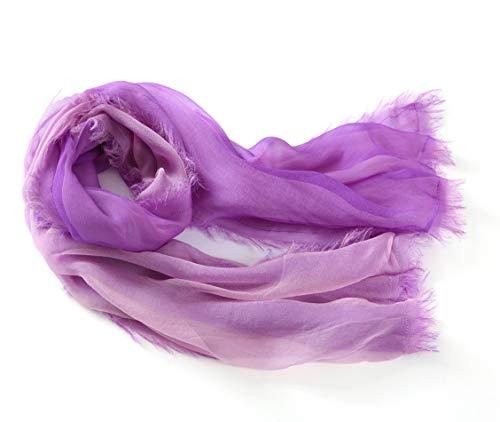 Tie-dye-seide-schal (prettystern lässig Damen 100% Seide zwei-lagig zwei Farabe Sommer-Schal mit Kurzen Fransen hell-Violett Lila/rosa)