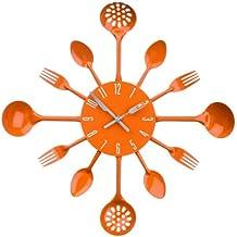 Premier Housewares 2200670 Orologio da Parete Posate, Metallo, Arancione