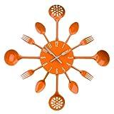Acquista Premier Housewares 2200670 Orologio da Parete Posate, Metallo, Arancione