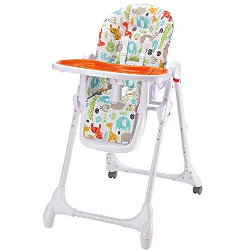 Babyhochstuhl 4in1 mitwachsend | Babystuhl mit Liegefunktion | Kinderhochstuhl Tisch mit abnehmbarem Tablett | Hochstuhl mit Sitzpolster, Gurt & höhenverstellbar & klappbar, Design:Animals orange