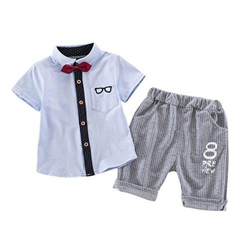 Baby Boy Gentleman Kleidung Set Frühling Sommer Outfit Kleidung Kurzarm T-Shirt und lange Hosen für 6 Monate bis 4 Jahre alt (Shirts Kurzarm-formalen)
