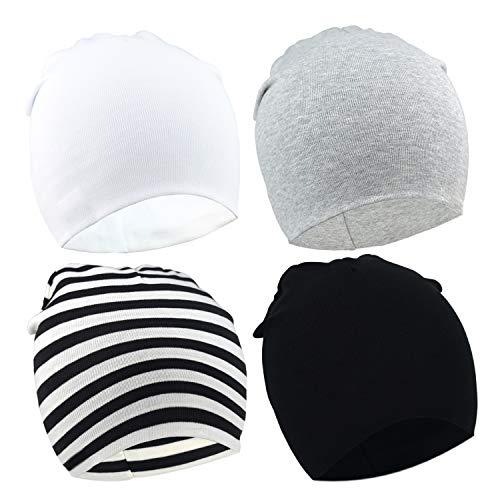 DRESHOW Baby BQUBO 4 Stück Beanie weiche Nette Wollmütze Krankenhaus Hüte Cap Beanies 3-24 Monat 4-Pack: Strip, Grau, Weiß, Schwarz
