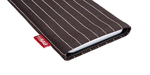 fitBAG Jive Grau Handytasche Tasche aus Textil-Stoff mit Microfaserinnenfutter für Apple iPhone 4 16GB 32GB iPhone4 16 32 GB Twist Dunkelbraun