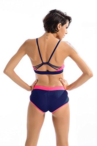 Peacoco Femmes sport natation costume deux pièces bikini maillot de bain vêtements de bain 7013 Pink Navy Blue