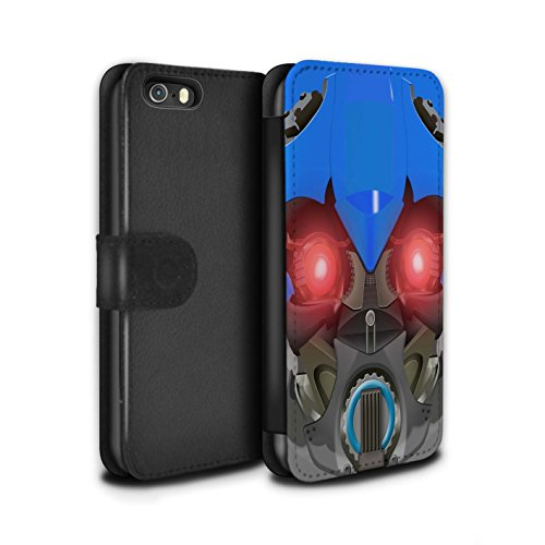 Stuff4 Coque/Etui/Housse Cuir PU Case/Cover pour Apple iPhone 5/5S / Mega-Bot Bleu Design / Robots Collection Bumble-Bot Bleu