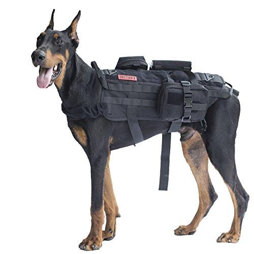 OneTigris Taktisch Hundeausbildung MOLLE Weste Geschirr Hundegeschirr mit einfach abnehmbare Dienstprogramm Kletttasche Zubehörtasche (Schwarz, L)