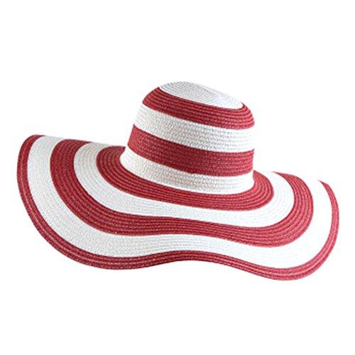 itopfoxeu femmes chapeau de soleil de bain à rayures chapeau de paille chapeau de Big bord souple Rouge
