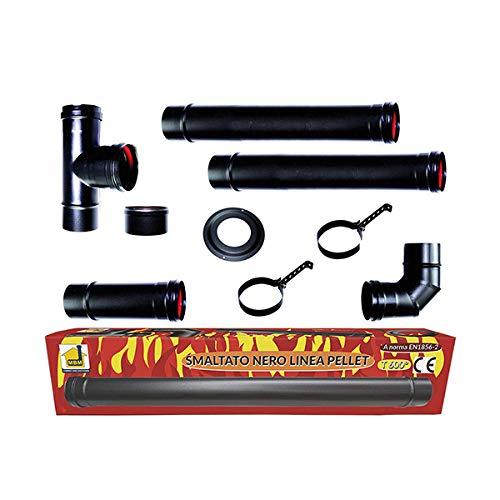 Pelletofen Kit Rohre 80 mm. Rohr schwarz lackierte Stahl beständig 600 CE ° Porzellan Kamin Made in Italy.