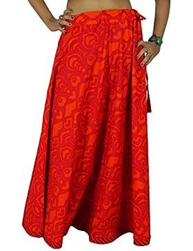 Las mujeres forman a algodón rosado del Hippie Impresión del extracto del desgaste de la falda del cordón de la...
