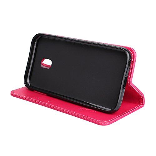 Custodia Galaxy J3 2017, ISAKEN Flip Cover per Samsung Galaxy J3 2017 con Strap, Elegante borsa Tinta Unita Albero Design in Sintetica Ecopelle PU Pelle Protettiva Portafoglio Case Cover con Supporto  Rose: rossa