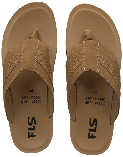FLS (By Franco Leone) Men's Beige Flip Flops Thong Sandals - 10 UK/44 EU  available at amazon for Rs.269