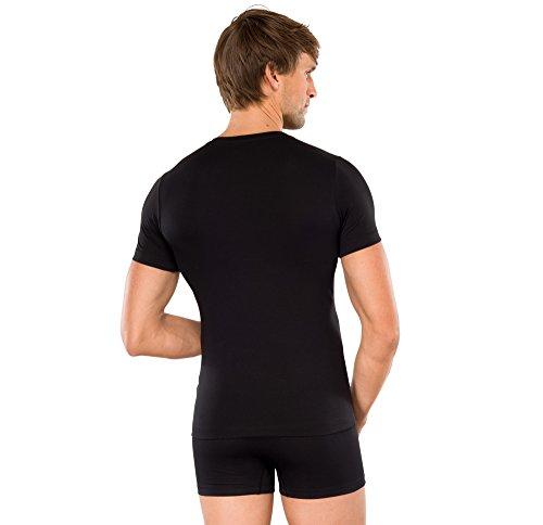Schiesser - Herren Shirt kurzarm V-Ausschnitt - Long Life Cotton (142340) schwarz (000)