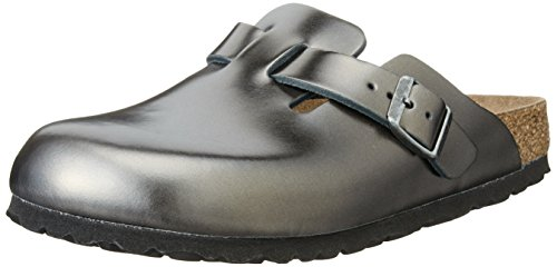 Birkenstock Damen Boston Clogs, Gris (Metallic Anthracite Soft Footbed), 38 EU